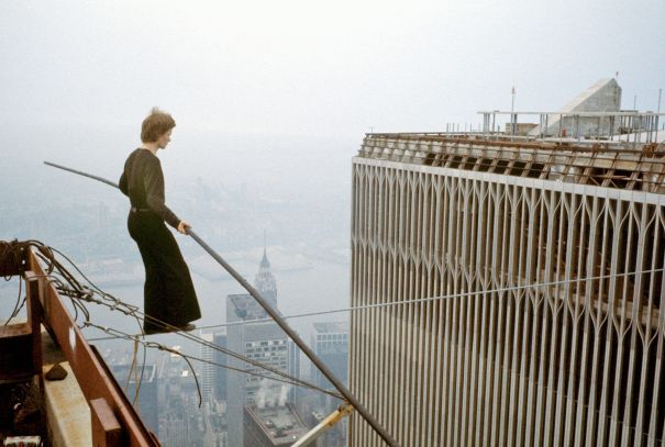 Philippe Petit between WTC towers 1974