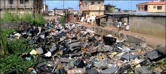 Electronic waste litters a Nigerian landscape (NY Times)