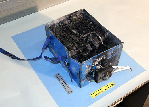 Burned lithium-ion battery from a 787
