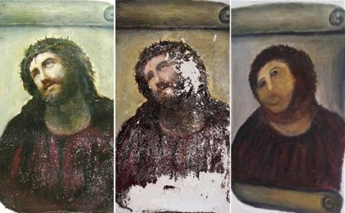 Ecce homo church painting bungled