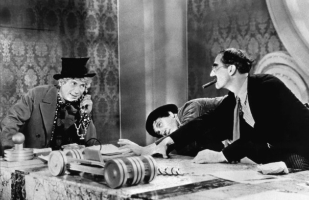 """Run out and find me a four-year-old child. I can't make heads or tails of this."" (Rufus T. Firefly, ""Duck Soup"", 1933)"